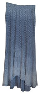 AG Adriano Goldschmied Cotton Stripe Asymetrical Maxi Skirt Blue and white