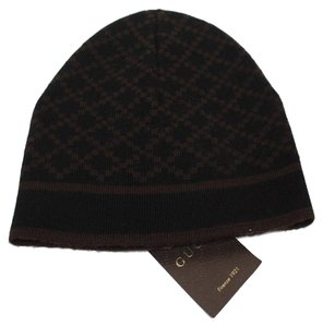 Gucci Gucci Men's Wool Diamante Brown Beanie Hat 281600