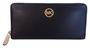 Michael Kors Fulton ZA Continental Leather Wallet Fits Checkbook NWT Black