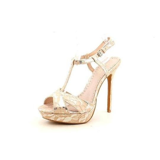 Charles by Charles David Lace Leather Lining Platform Nude Sandals