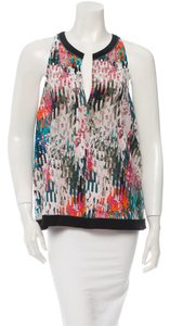 Elizabeth and James Silk Sleeveless Patterned Top Multi