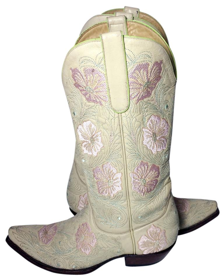 3c296080d47 Old Gringo Beige Off White Cream Pink Flowers Cowgirl Cowboy Western  Women's Boots/Booties Size US 7 Regular (M, B) 60% off retail