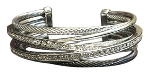 Other 7-Row Silver Cable Cuff with F aux Diamonds