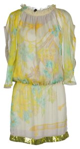 Patrizia Pepe short dress Yellow Above Knee 100% Silk Floral Prints on Tradesy