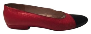 Chanel Lambskin Ballet Red Black Flats