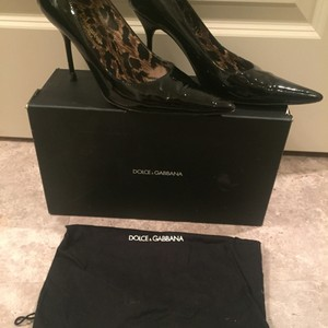 Dolce&Gabbana Leather Lace Heels Heels Black Patent Pumps
