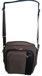 Tumi Minimally Studded Taupe w/ Brown Leather Trim Travel Bag