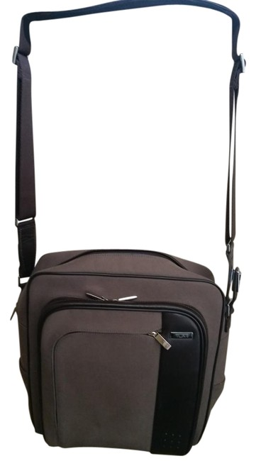 Item - Shoulder Carry On Taupe W/ Brown Leather Trim Nylon with Weekend/Travel Bag