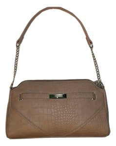 Nine West Taupe Silver Chain Faux Leather Crocodile Shoulder Bag