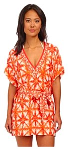 Michael Kors Michael Kors Clementine Orange & White Caftan Swim Beach Cover-Up Cover Up
