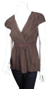 Odille Anthropologie Dotted Swiss Lace Trim Shirt Top Brown