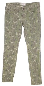 Free People Green Tribal Boho Skinny Jeans