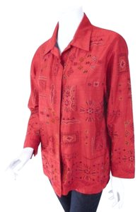 Chico's Silk Dupioni Beaded Embellished Tribal Print Top 1 Red Jacket