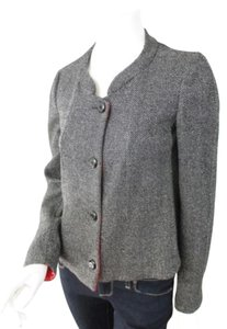 Armani Collezioni Armani Collezioni Black White Tweed Red Lined Wool Silk Blend Blazer Jacket