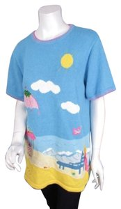 Quacker Factory Qvc Summer Beach Short Sleeve Sweater