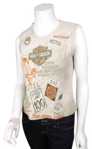 Harley Davidson Road Trip Graphic Rock Falls Il Crop Shirt Top Beige