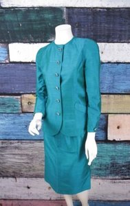 Victor Costa For Saks Fifth Avenue Turquoise Vintage Gem Silk Skirt Suit