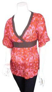 Odille Anthropologie Red Floral Silk Cotton Kimono Shirt Top Pink, Red, Brown