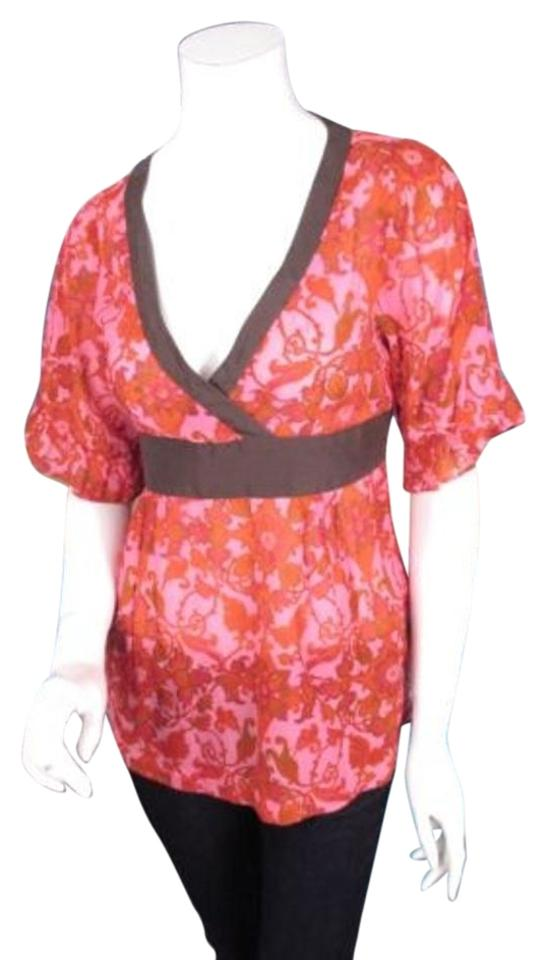 0c84f5a278ef56 Odille Anthropologie Pink Red Brown Floral Silk Cotton Kimono Blouse ...