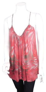 Free People People Red Floral Asian Inspired Cage Back Blouse Shirt Top Red, Gray