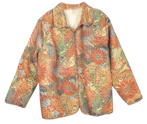CJ Banks Green Floral Green, Orange Jacket