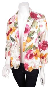 Coldwater Creek Coldwater Creek Cream Pink Floral Contrast Cuff Blazer Jacket Petite P12