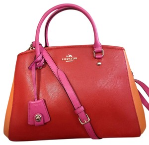 Coach Satchel in Imitation Gold/Carmine Multi