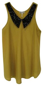 Kirra Polka Dot Sleeveless Point Flat Collar Top Yellow