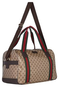 Gucci Canvas Leather crystal GG Travel Bag