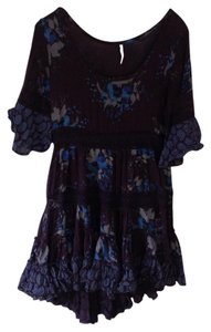 Free People short dress Black with blue flower printed on Tradesy