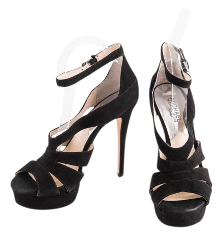 0e73a5eebf43 Michael Kors Black Leighton Ankle Strap Dress Platforms Size US 8 ...