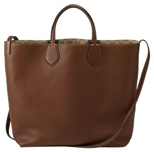 Gucci New Ramble Leather Tote in Brown