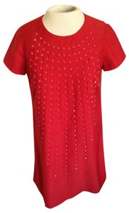 Karta short dress Red Embellished Studded Shift Holiday on Tradesy