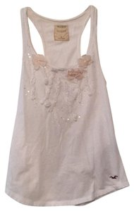 Hollister Top White with pale pink