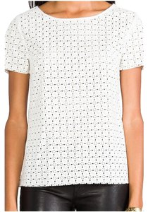 Ella Moss Vegan Leather Edgy Laser Cut Top White