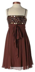 BCBGMAXAZRIA short dress Brown Silk Embellished on Tradesy