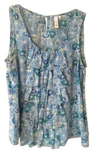 Anthropologie Floral Sleeveless Top Blue floral