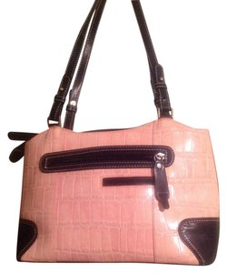 Marc Chantal Embossed Leather Stitches Zipers Pockets Shoulder Bag