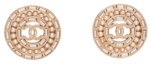 Chanel Chanel Light Gold Pearl and Crystal Large Disc Pierced Earrings