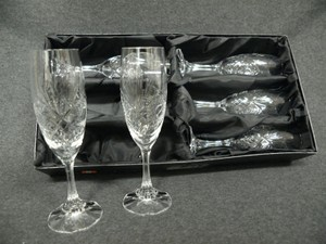 Set Of 6 Vintage Klein Baccarat Champagne Flute Glasses #54120