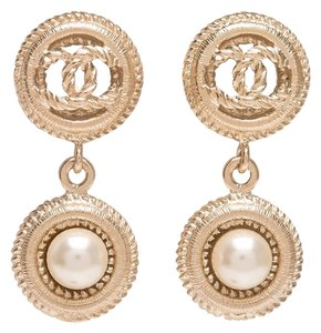 Chanel Chanel Light Gold Logo And Pearl Drop Pierced Earrings