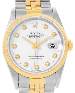 Rolex Rolex Datejust Steel 18K Yellow Gold White Diamond Dial Watch 16233