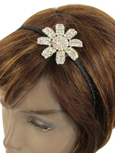 Women Classic Fashion Headband Large Flower Silver Rhinestones Black Hair Band