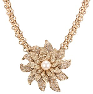 Chanel Chanel Gold Crystal and Pearl Camellia Flower Pendant Choker