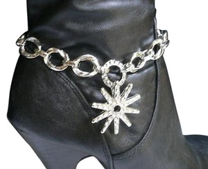 Women Silver Boots Chain 1 Strap Rhinestones Texas Star Western Shoes Charm
