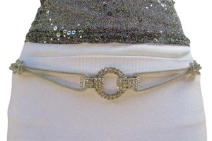 Women Fashion Metal Belt Hip Chain Big Rhinestones Ring Mesh Silver 29-45