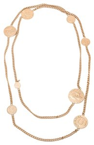 Chanel Chanel Brushed Matte Gold Coco Chanel Coin Long Necklace