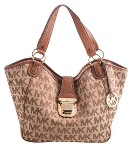 Michael Kors Leather Canvas Tote in tan