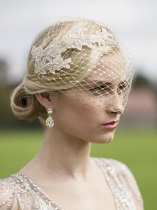 Mariell Metallic Gold Birdcage Stunning French Netting with Champagne Lace Appliques Bridal Veil