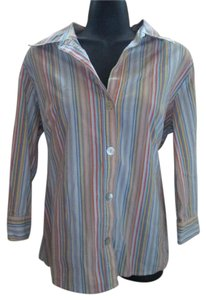 Chico's Striped Career Button Down Shirt Multicolored